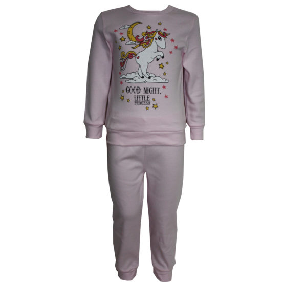 58723 Пижама с аппликацией для девочки (интерлок) РОЗОВЫЙ ЕДИНОРОГ