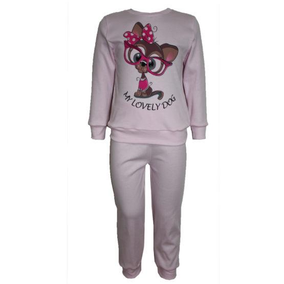 58723 Пижама с аппликацией для девочки (интерлок) РОЗОВЫЙ СОБАКА