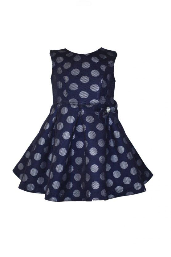 043173 Платье в горох синее (неопрен с сеткой)