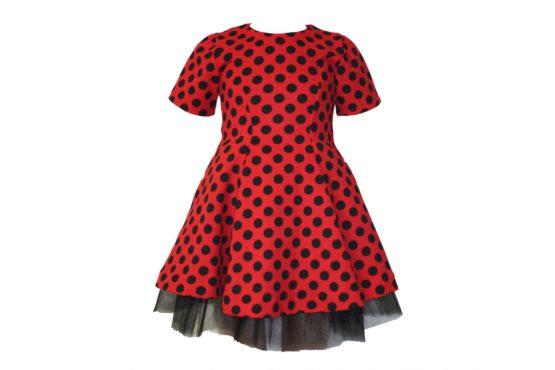 42871 Платье красное в черный горох (плотный трикотаж)