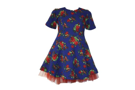 42871 Платье синее с красными розами (плотный трикотаж)