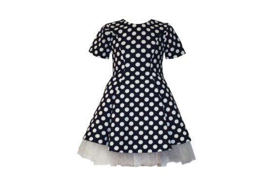 042871 Платье черное в белый горох (плотный трикотаж)
