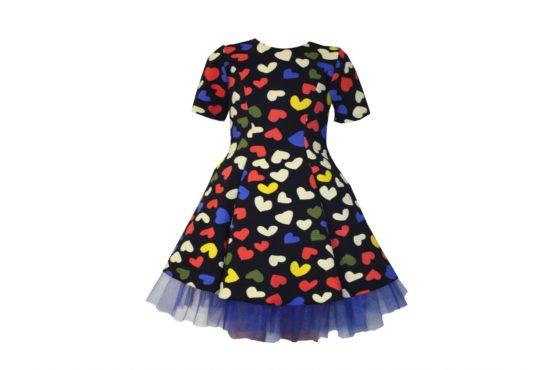 042871 Платье черное с сердечками (плотный трикотаж)