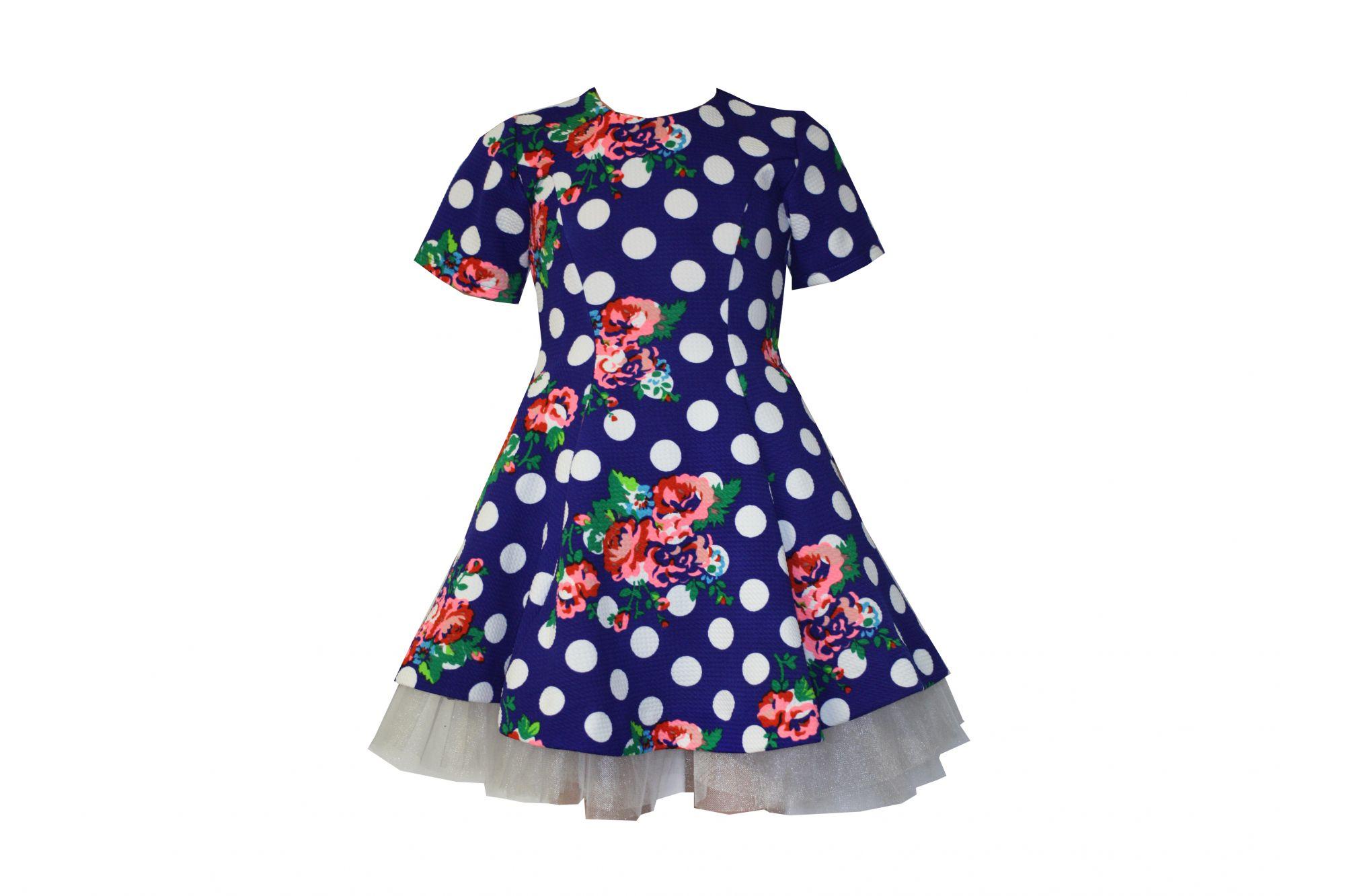 042871 Платье синее в белый горох с цветами (плотный трикотаж)