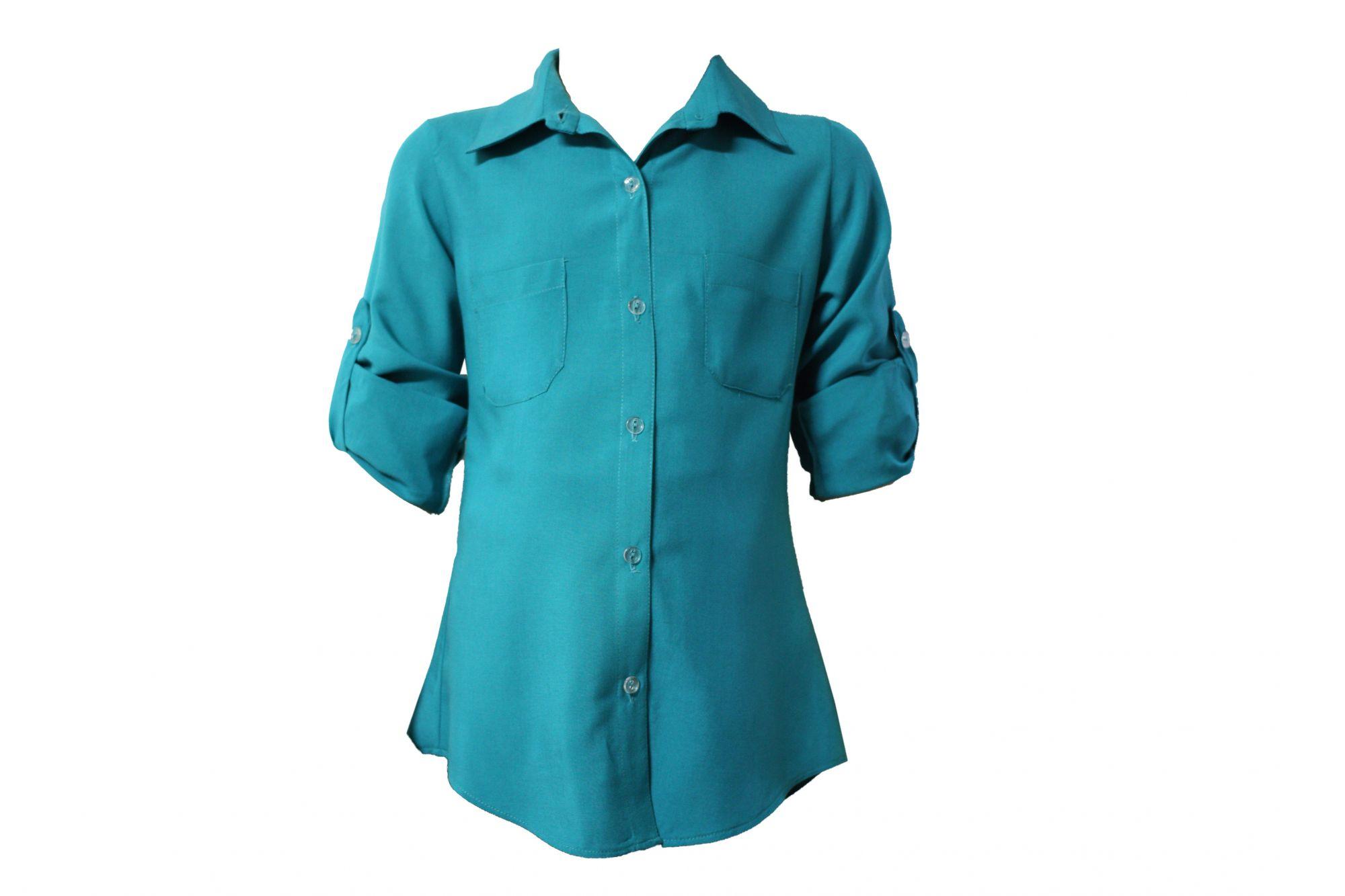 43150 Детская рубашка ГОЛУБАЯ (штапель)