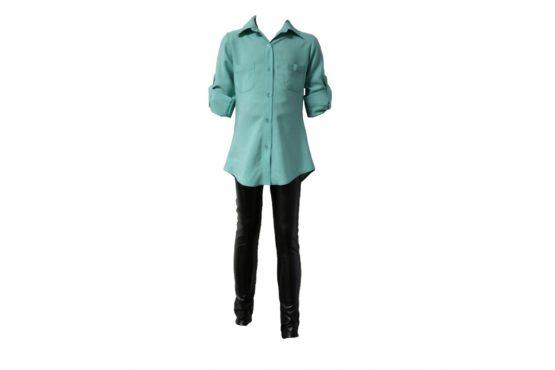 43150 Детская рубашка СВЕТЛО-ГОЛУБАЯ (штапель)