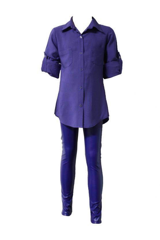 43150 Детская рубашка СИРЕНЕВАЯ (штапель)