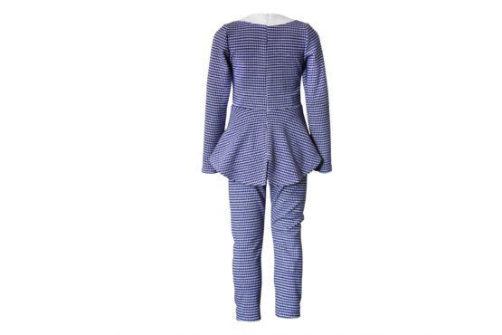 43677 Костюм леггинсы+блуза баска (креповый трикотаж) ЯРКО-СИНИЙ