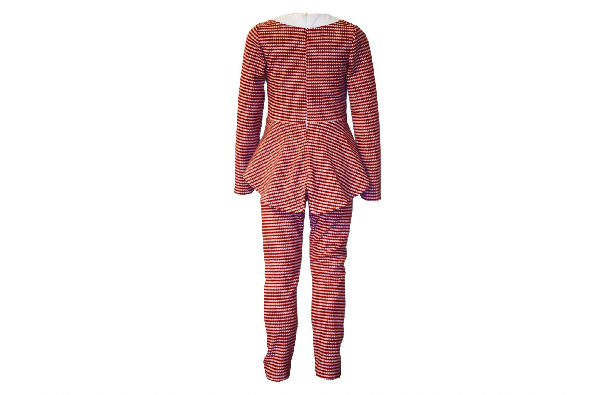 43677 Костюм леггинсы+блуза баска (креповый трикотаж) КРАСНЫЙ