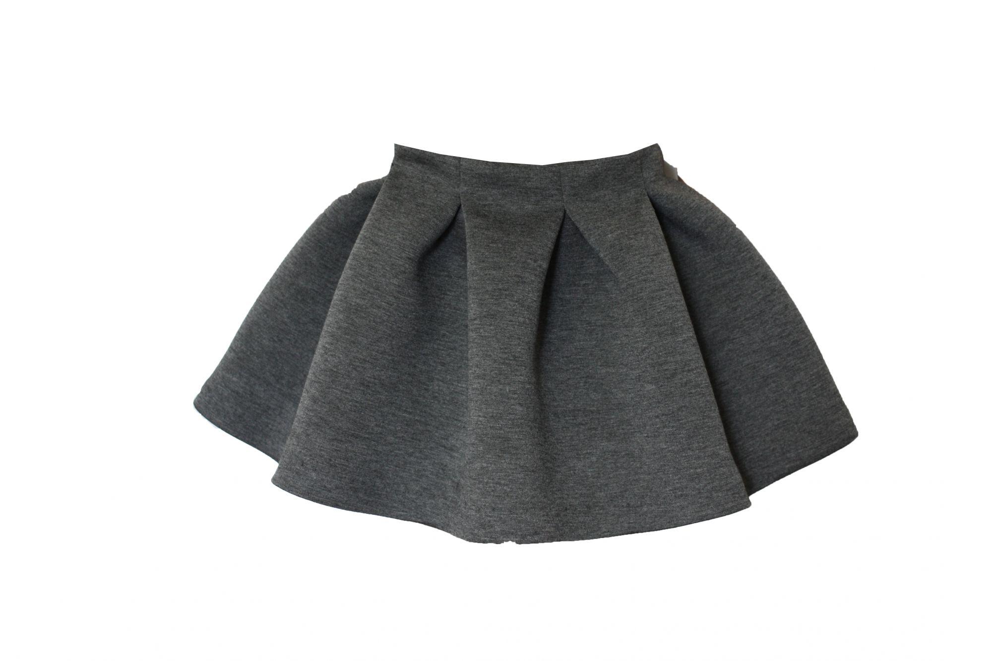 45682 Костюм для девочки бомбер+юбка (неопрен) ТЕМНО-СЕРЫЙ