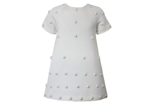 45270 Платье с жемчугом с подкладой (неопрен) БЕЛЫЙ