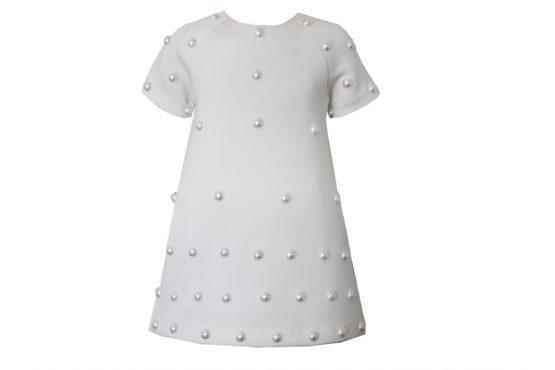 42570 Платье с жемчугом белое (неопрен)