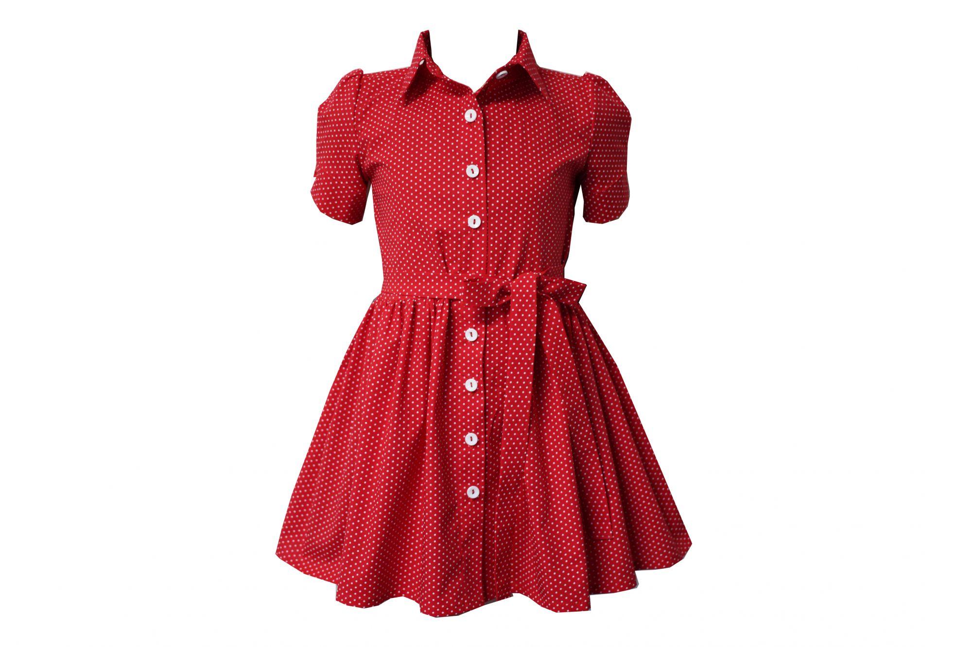 45964 Платье с поясом (коттон) КРАСНОЕ