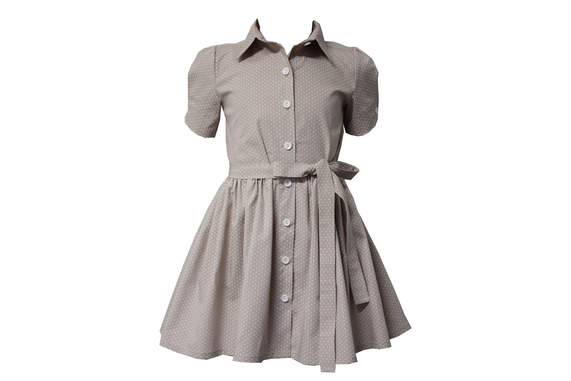 45964 Платье с поясом (коттон) БЕЖЕВОЕ