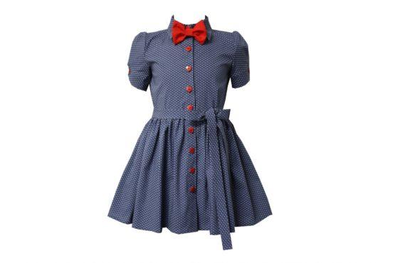 45964 Платье с поясом (коттон) СИНЕЕ
