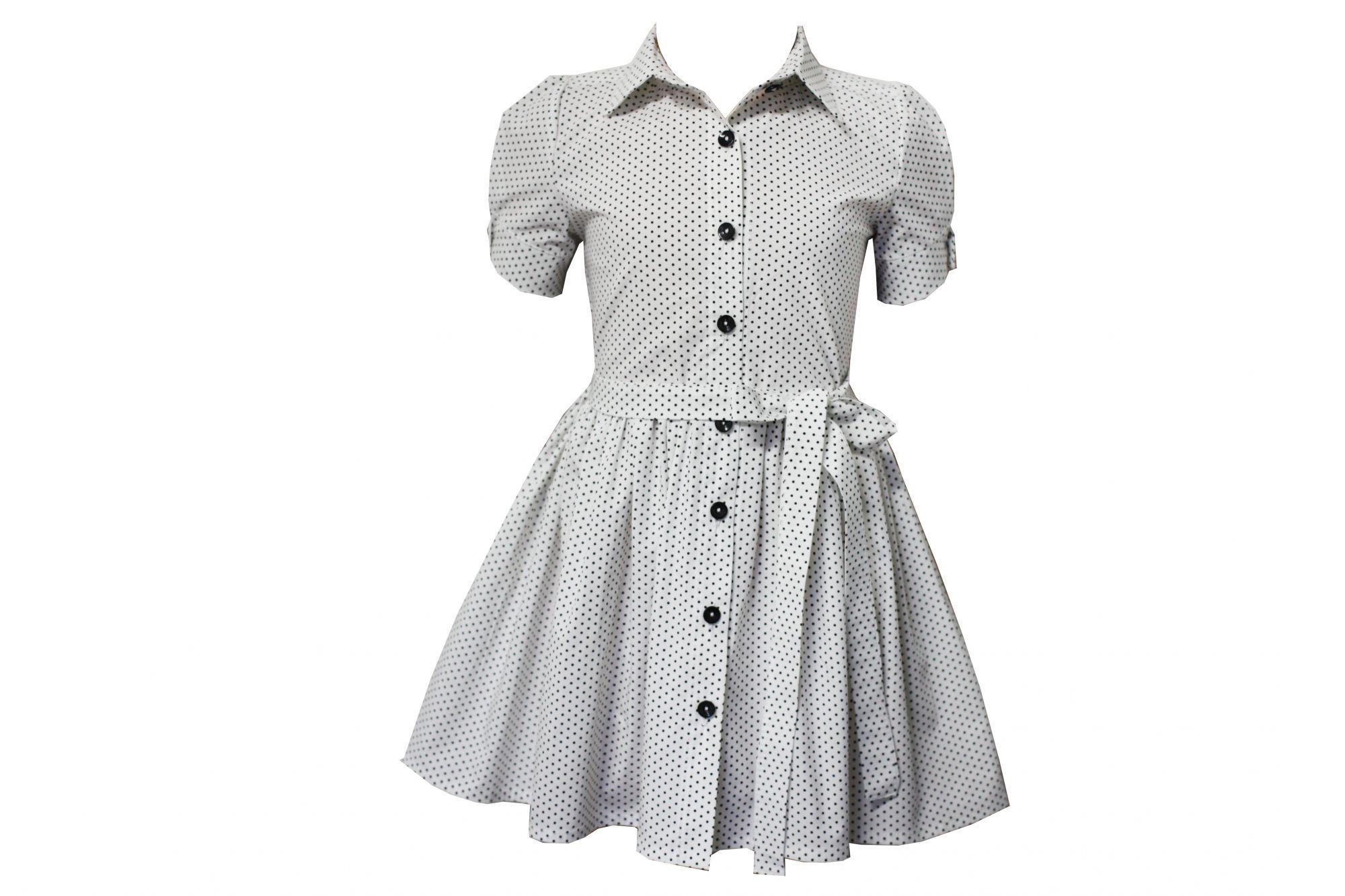 45964 Платье с поясом (коттон) БЕЛОЕ