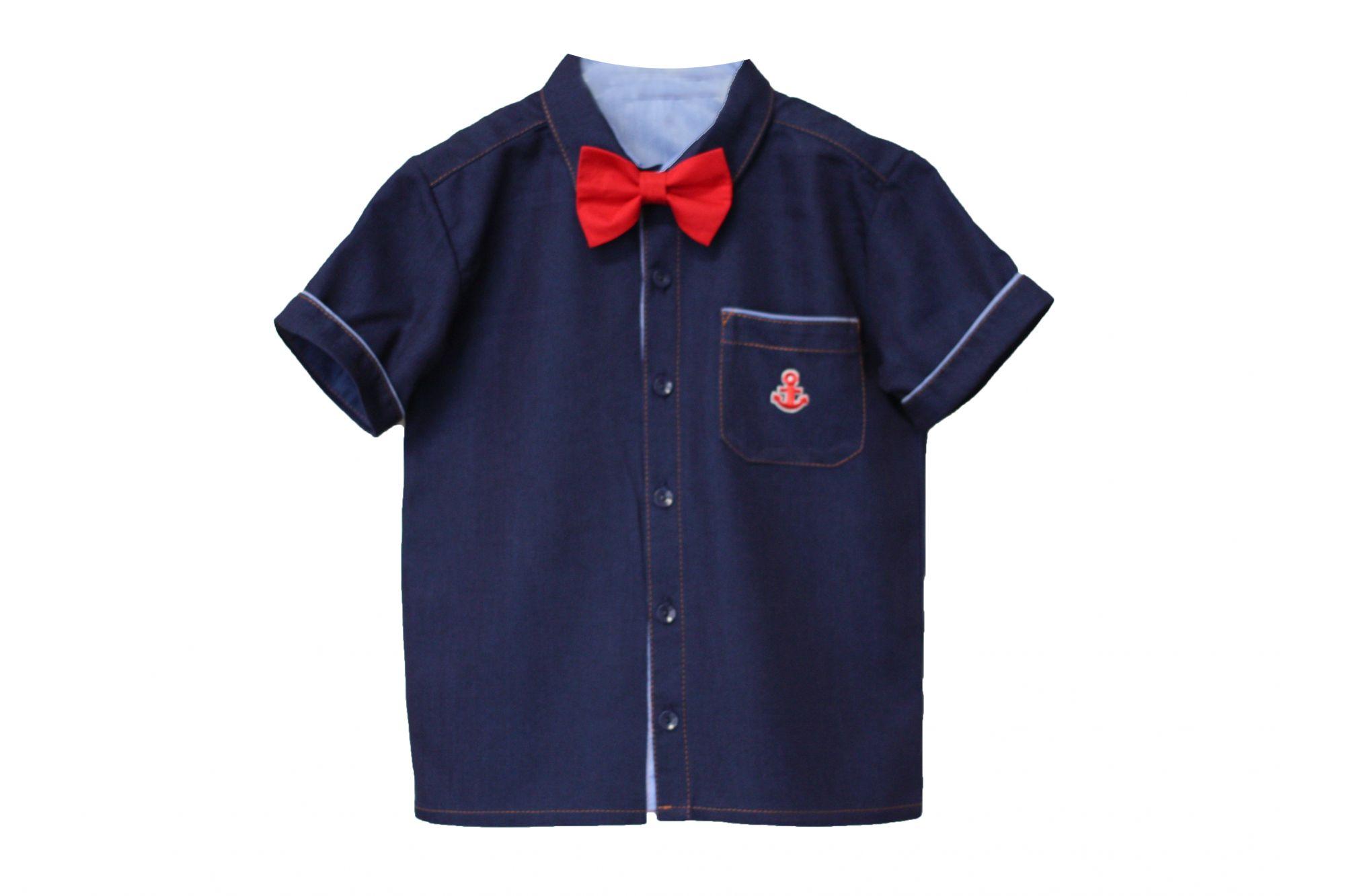 047886 Рубашка для мальчика детская (джинс)