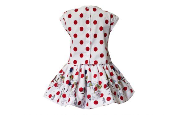 48987 Костюм Топ+юбка в красный горох (поплин)
