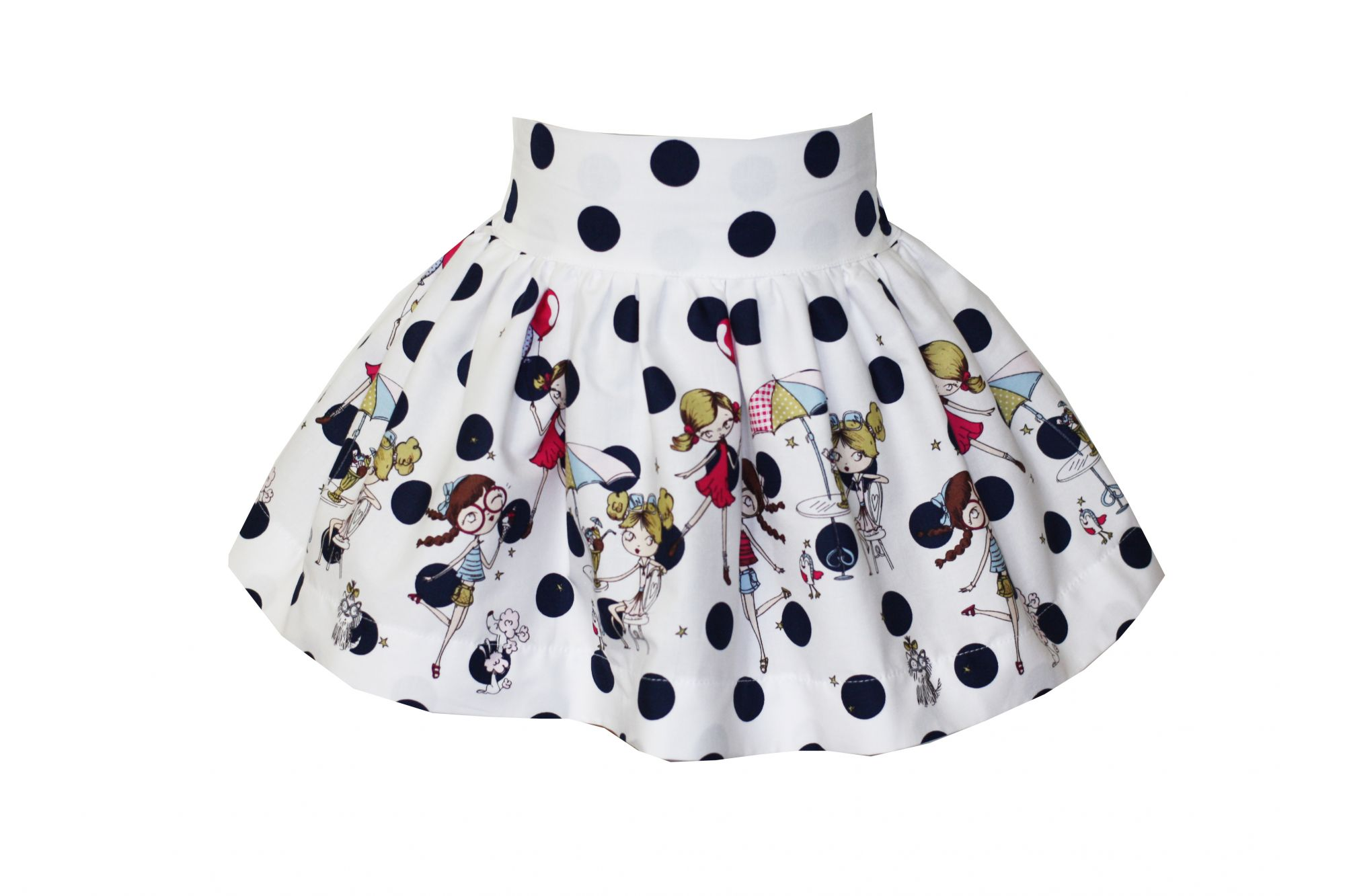 48987 Костюм Топ+юбка в темно-синий горох (поплин)