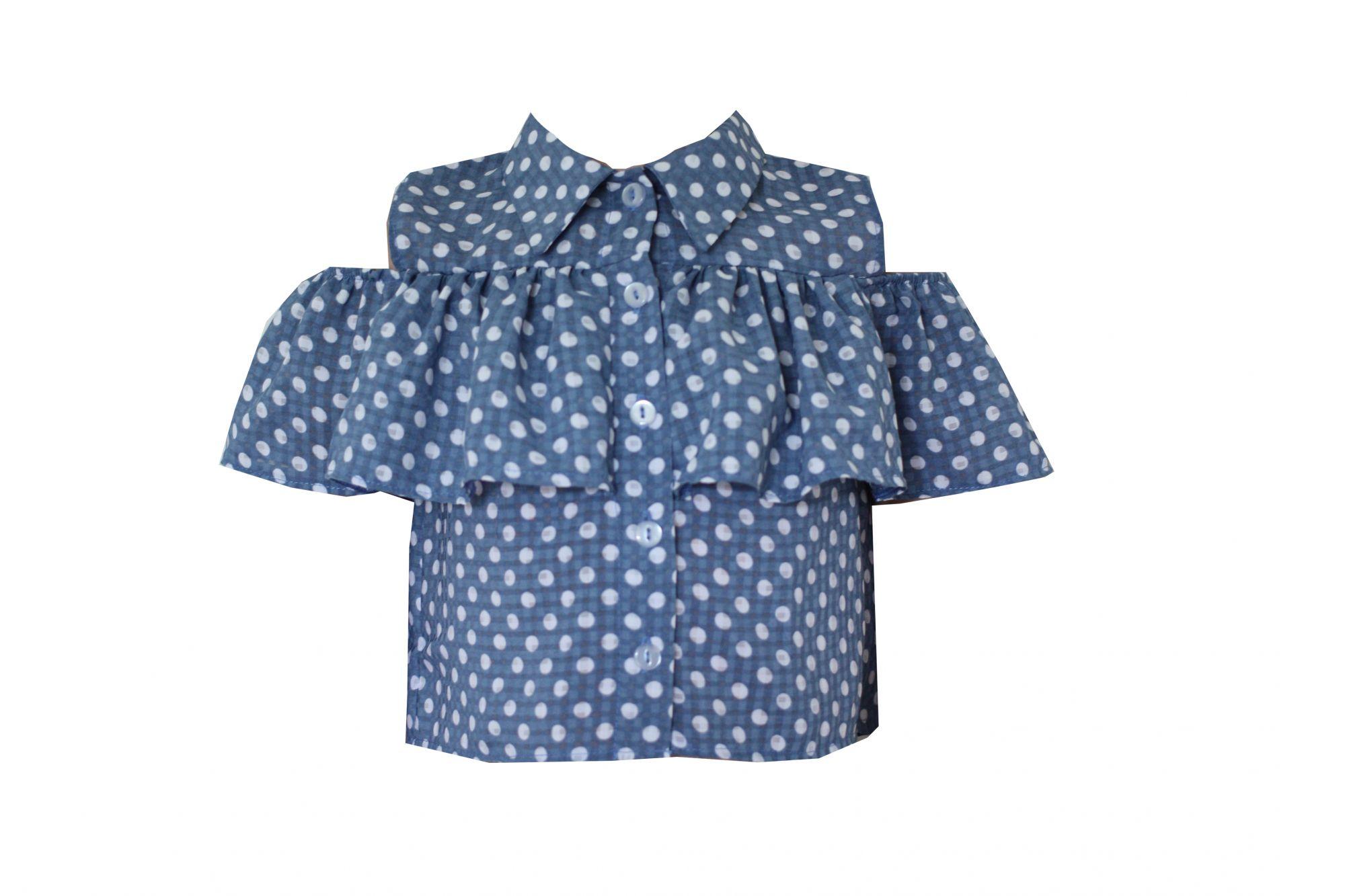 49489 Блуза с оборкой ГОЛУБОЙ (хлопок)