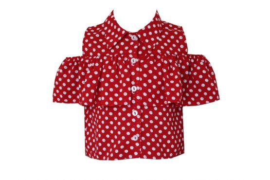 49489 Блуза с оборкой МИКС (хлопок)