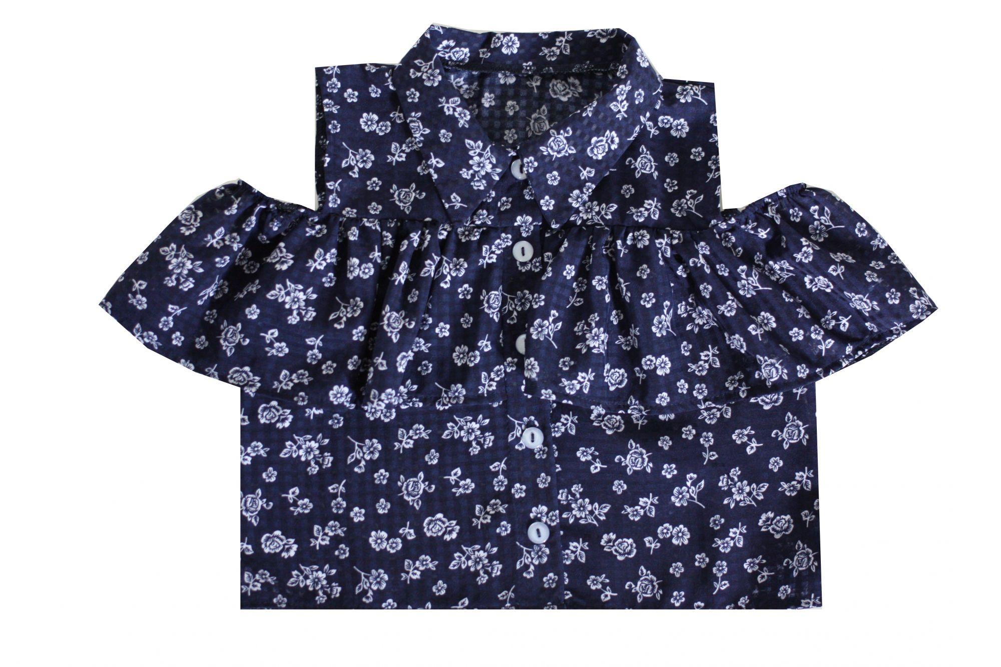 49489 Блуза с оборкой СИНИЙ (хлопок)