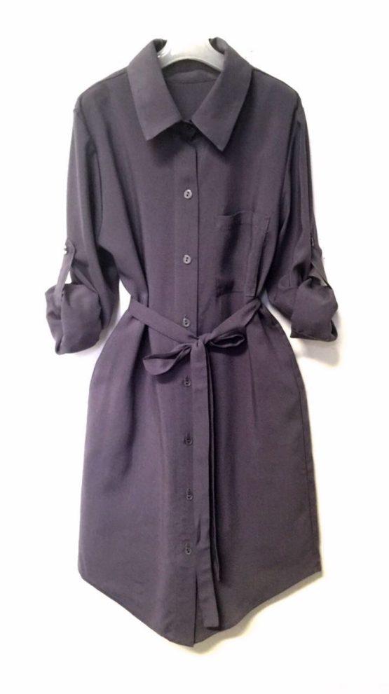 46050 Платье-рубашка (штапель) СЕРЫЙ
