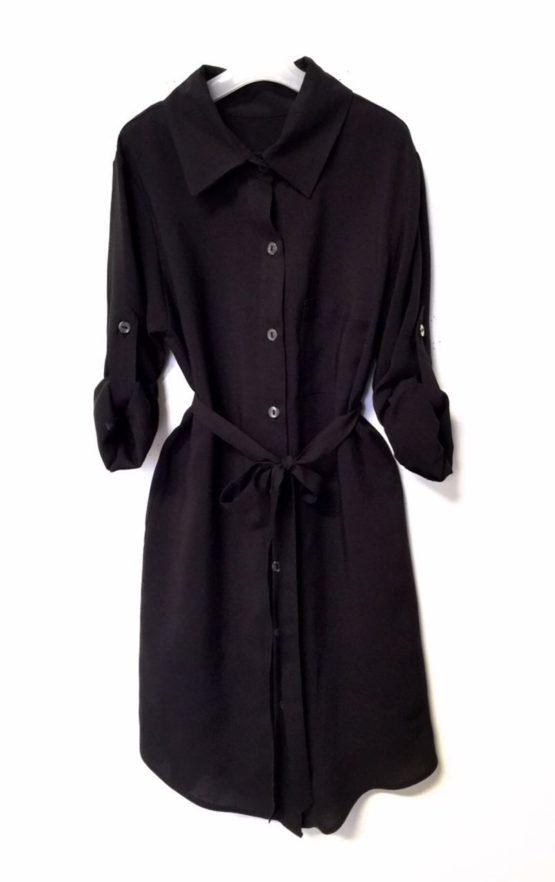 46050 Платье-рубашка (штапель) ЧЕРНЫЙ
