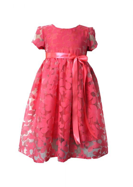 52194 Платье (органза) КОРАЛЛОВЫЙ (размер 86)