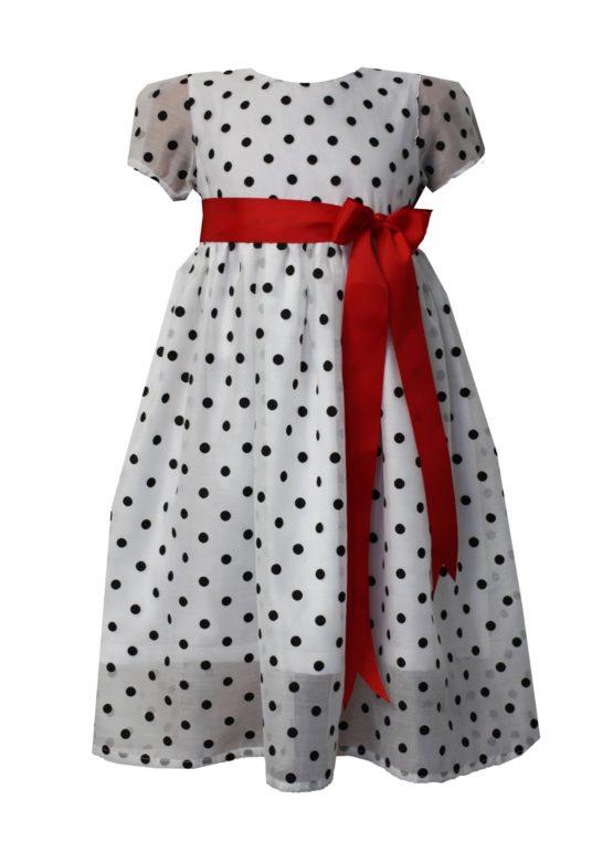 52194 Платье (органза) БЕЛЫЙ В ЧЕРНЫЙ ГОРОХ