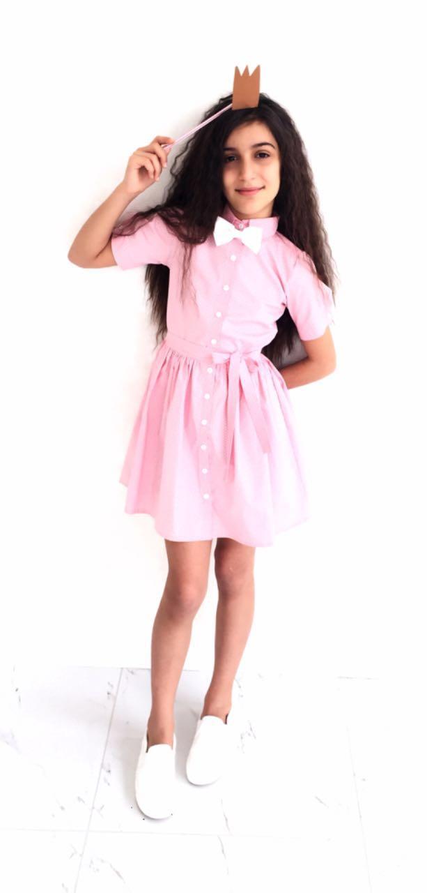 45964 Платье с поясом (коттон) РОЗОВОЕ