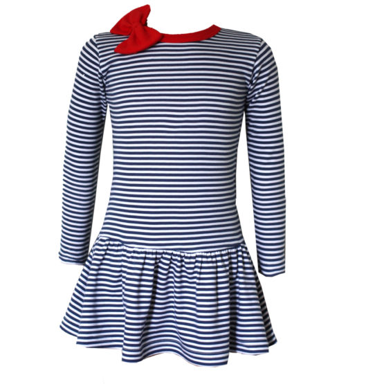 039548 Детское полосатое платье (интерлок)