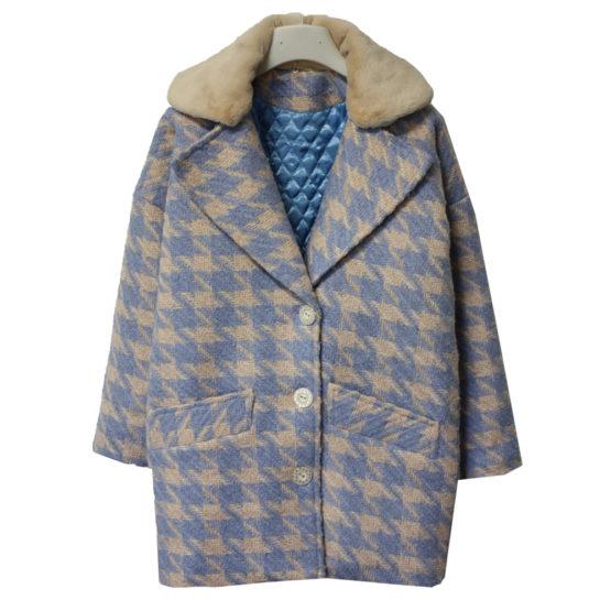 00591100 Пальто зимнее утепленное (полушерсть «гусиные лапки») СИНИЙ+БЕЖЕВЫЙ