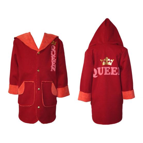 43281 Пальто детское для девочки (велсофт+супрем) КРАСНЫЙ