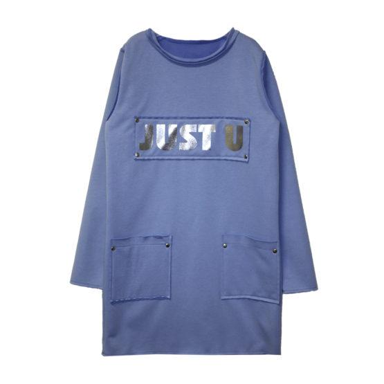 60981 Платье детское с карманами (флис+супрем) ГОЛУБОЙ