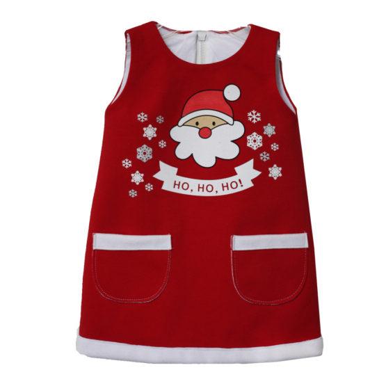 Y0481 Детское платье «Новый год» (супрем+флис) КРАСНЫЙ
