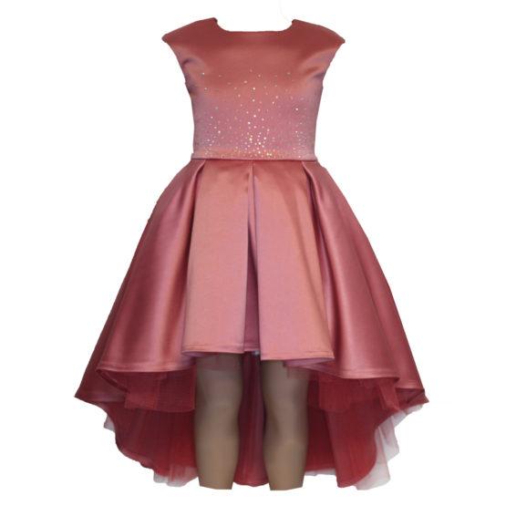 0621110 Платье (плотный атлас) КОРАЛОВЫЙ