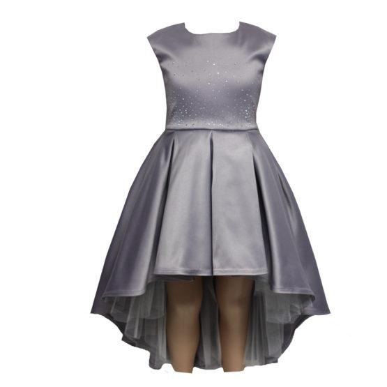 621110 Платье (плотный атлас) СЕРЕБРИСТЫЙ