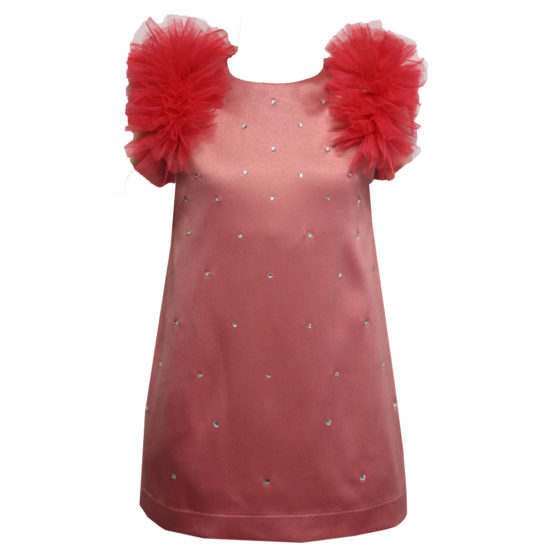 622110 Платье (плотный атлас) КОРАЛОВЫЙ