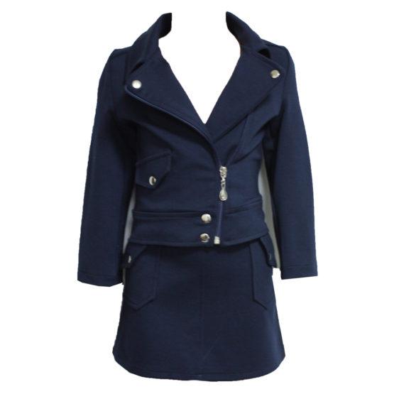 63371 Костюм куртка+юбка (плотный трикотаж) СИНИЙ