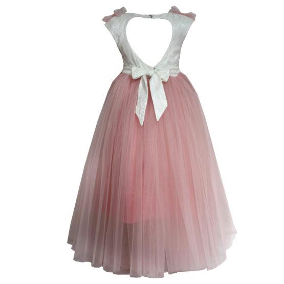 61961 Платье вечернее (атлас+фатин) БЕЛЫЙ+РОЗОВЫЙ