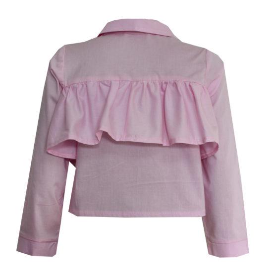 063687 Рубашка с рюшей (поплин) РОЗОВЫЙ