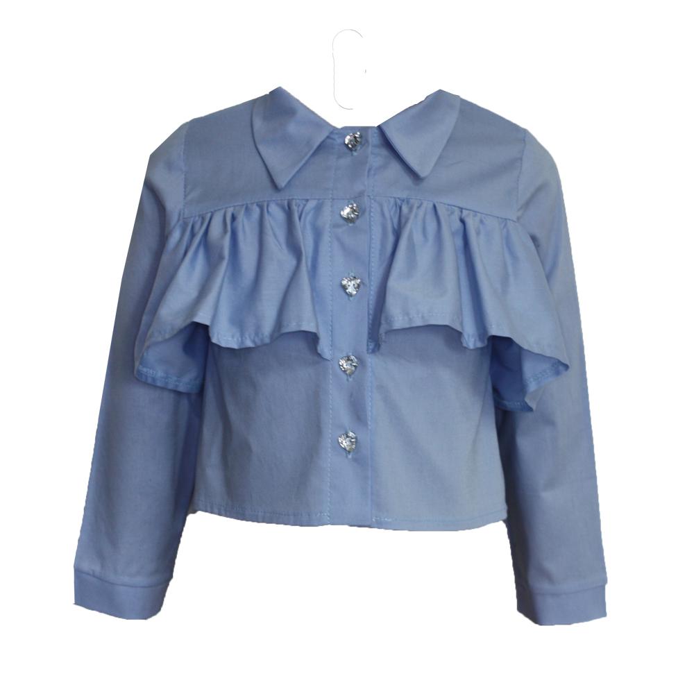 63687 Рубашка с рюшей (поплин) ГОЛУБОЙ