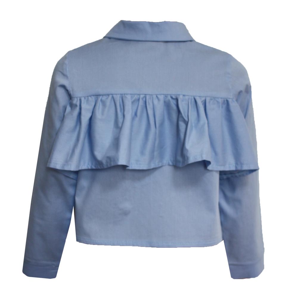 063687 Рубашка с рюшей (поплин) ГОЛУБОЙ