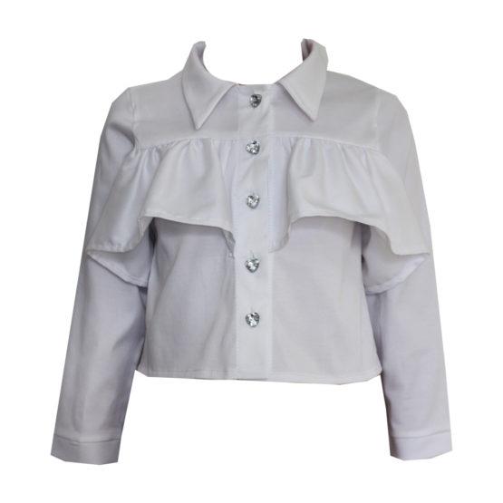 063687 Рубашка с рюшей (поплин) БЕЛЫЙ
