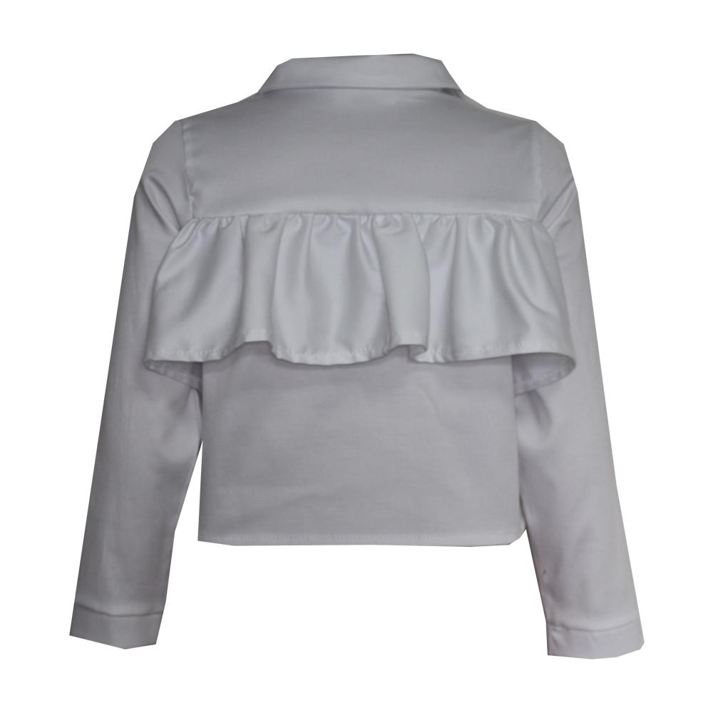 63687 Рубашка с рюшей (поплин) БЕЛЫЙ