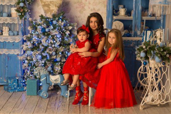 614107 Платье с пайетками КРАСНЫЙ