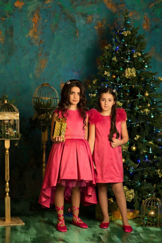 622110 Платье (плотный атлас) МАЛИНОВЫЙ (размер 128)