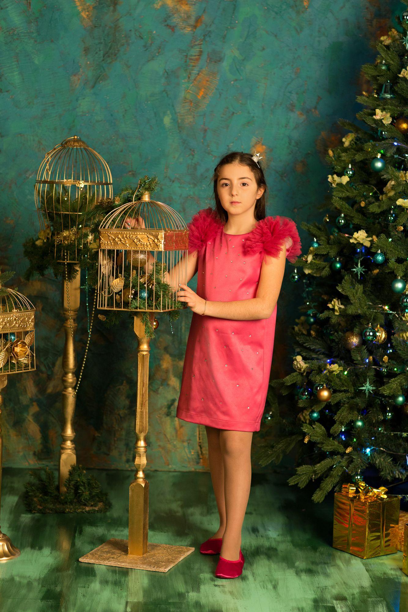 622110 Платье (плотный атлас) МАЛИНОВЫЙ