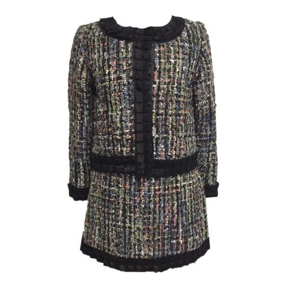 58698 Костюм юбка+пиджак (твид) ЧЕРНЫЙ (размер 140)